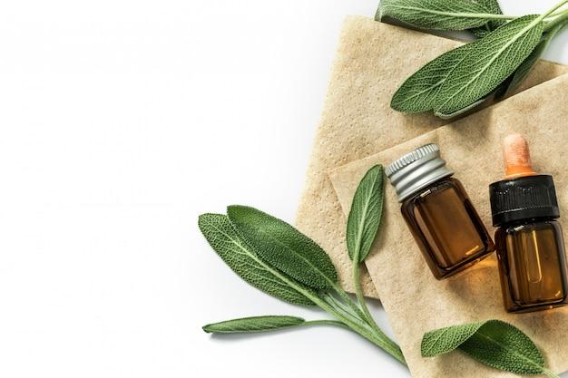 Ciérrese encima de la hoja verde fresca de la hierba de salvia con una botella de aceite esencial en el fondo blanco, esencia de la hierba