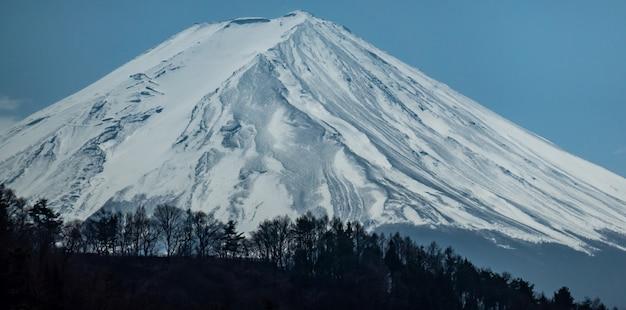 Ciérrese encima de la montaña de fuji con la capa de nieve en la cima con podría, fujisan