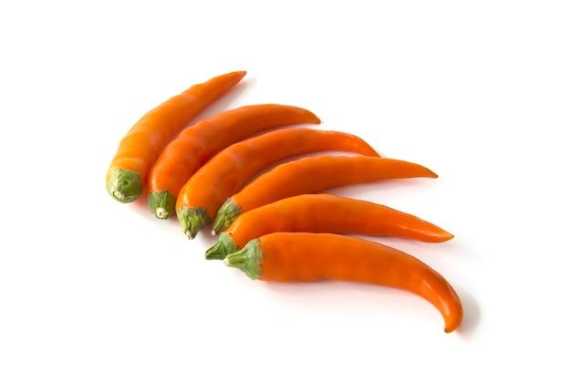 Ciérrese encima de la pimienta de chile caliente anaranjada aislada en un fondo blanco