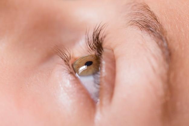 Ciérrese encima de la vista de un ojo verde de la muchacha. fotografía macro