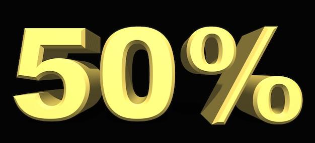 Cifra del 50% por ciento sobre fondo oscuro