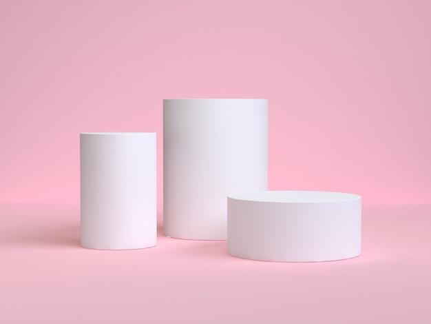 Cilindro blanco forma mínima escena rosa representación 3d