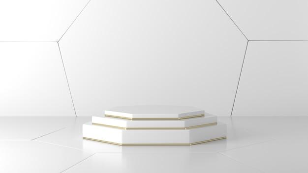 Cilindro de mármol blanco y dorado de lujo mínimo, podio hexagonal en fondo blanco.