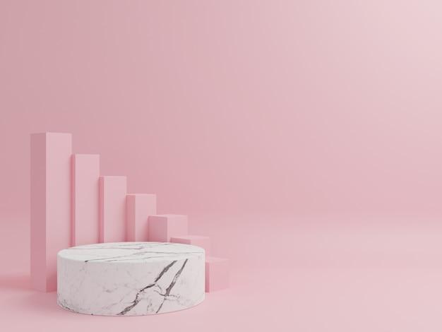 Cilindro podio de mármol con un cuadrado rosa en el fondo.