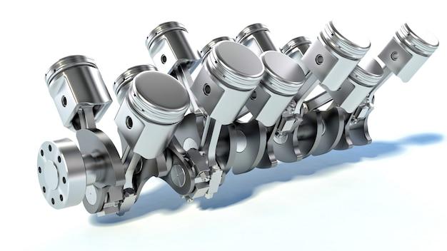 Cilindros del motor de un automóvil en blanco
