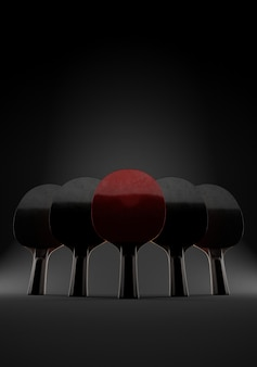 Cinco raquetas para jugar tenis de mesa o ping-pong sobre fondo negro épico. ilustración 3d con copia espacio. concepto de equipo.