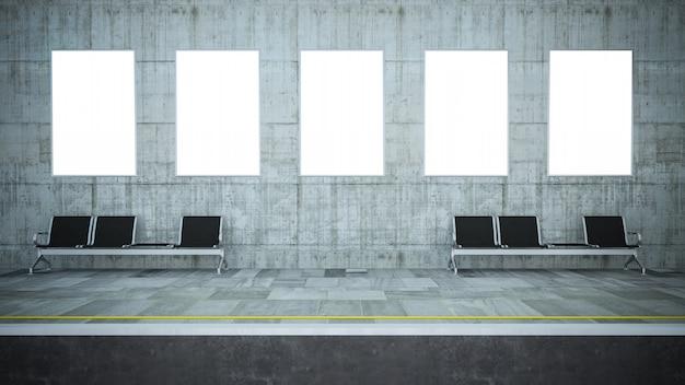 Cinco vallas publicitarias en blanco en la estación de metro
