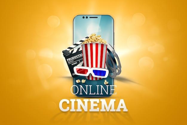 Cine, atributos de cine, cines, películas, visualización en línea, palomitas de maíz y gafas.