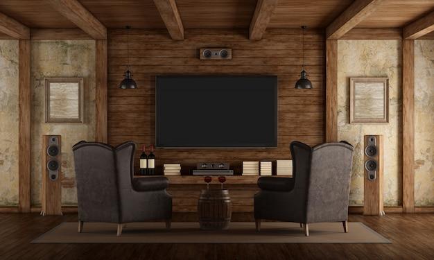 Cine en casa en estilo rústico