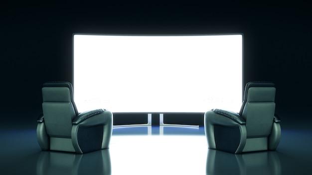 Cine con renderizado 3d de pantalla en blanco
