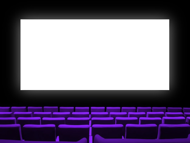 Cine sala de cine con asientos de terciopelo morado y una pantalla en blanco en blanco