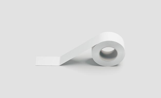 Cinta adhesiva adhesiva blanca en blanco, vista lateral, renderizado 3d.