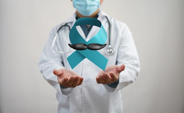 Cinta azul del mes de concientización sobre el cáncer de próstata de noviembre. hombres prevención del cáncer