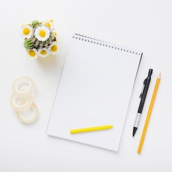 Cinta cello; planta de cactus y bloc de notas en espiral con lápices de colores; pluma y lápiz de color sobre fondo blanco