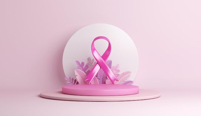 cinta de concientización sobre el cáncer de mama con fondo de decoración de podio