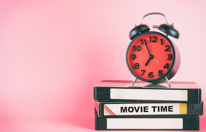 Cinta de video y tiempo de película lable del despertador