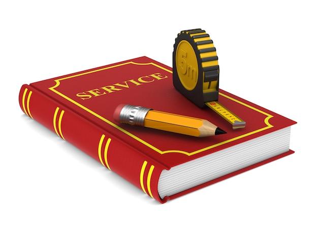 Cinta métrica amarilla y lápiz y libro rojo. representación 3d aislada