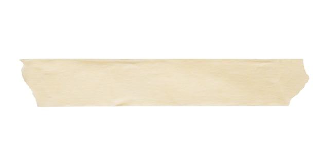 Cinta de papel adhesivo amarillo aislado sobre fondo blanco.