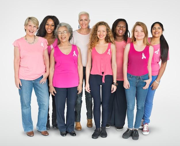 Cinta rosada cáncer de mama chicas femenino copia espacio banner