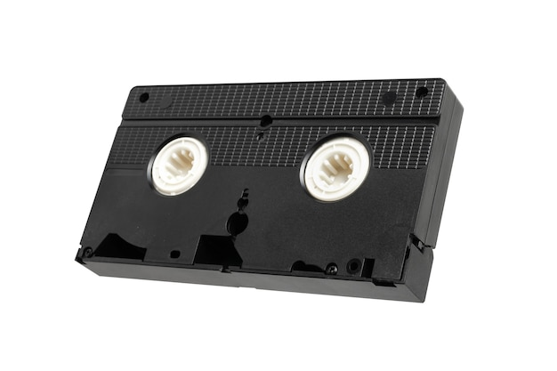 Cinta de vídeo vhs para ver películas aisladas sobre fondo blanco, cinta de vídeo.