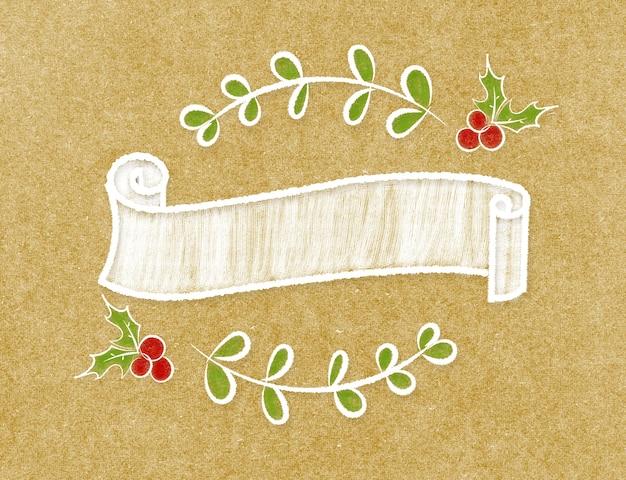 Cinta vintage en blanco redondo banner en estilo doodle en papel artesanal marrón