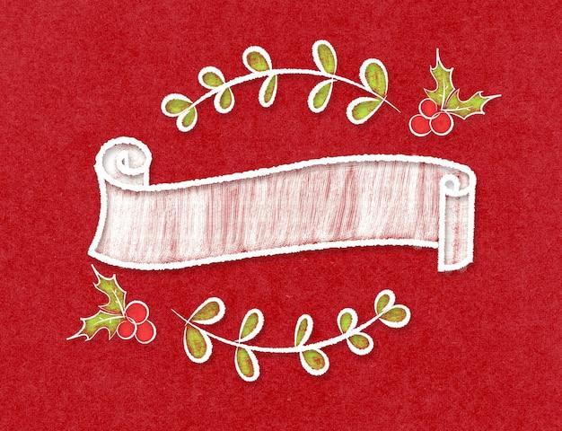 Cinta vintage en blanco redondo banner en estilo doodle en papel rojo artesanal
