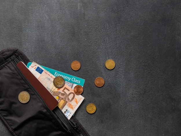 Cinturón de dinero con pasaporte