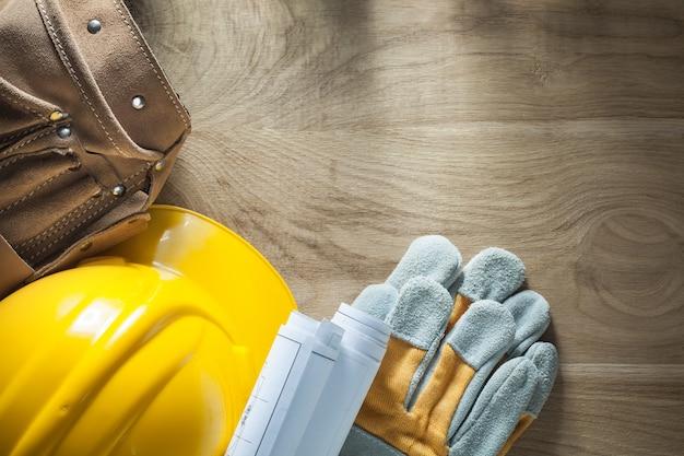 Cinturón de herramientas de cuero planes de construcción guantes de seguridad casco