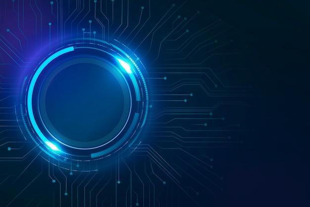 Circuito de círculo digital fondo azul tecnología futurista
