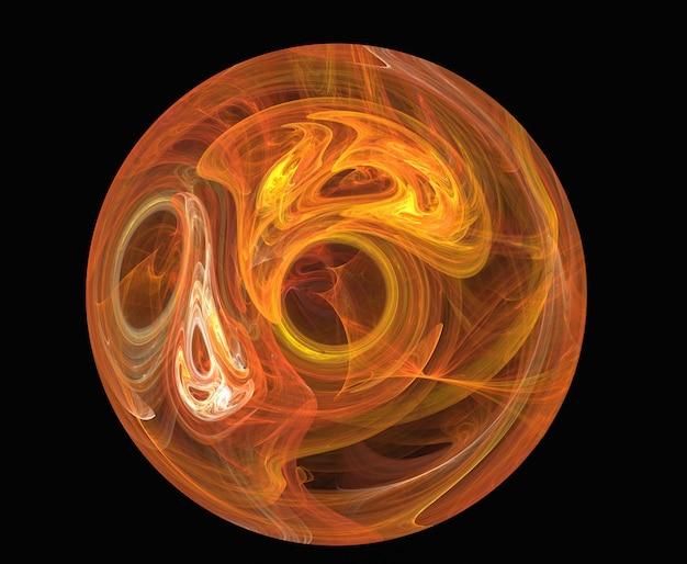 Círculo abstracto fractal amarillo y rojo sobre el negro