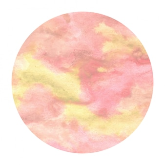 Círculo amarillo dibujado a mano acuarela textura de fondo de marco circular con manchas