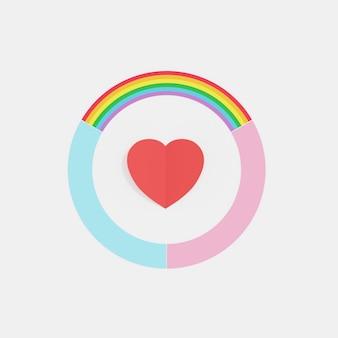 Círculo de arco iris de amor, color azul y rosa con corazón rojo en medio, concepto mínimo creativo, representación 3d