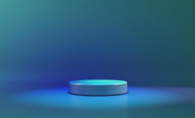 Círculo etapa azul luz de neón. fondo futurista abstracto