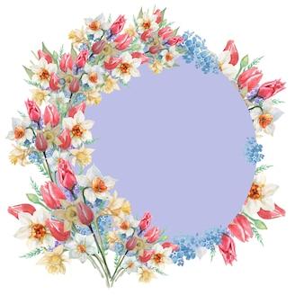 Círculo gris con marco de flores de tulipanes y narcisos