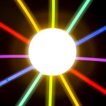 Círculo iluminado rodeado de tubo de luz fluorescente