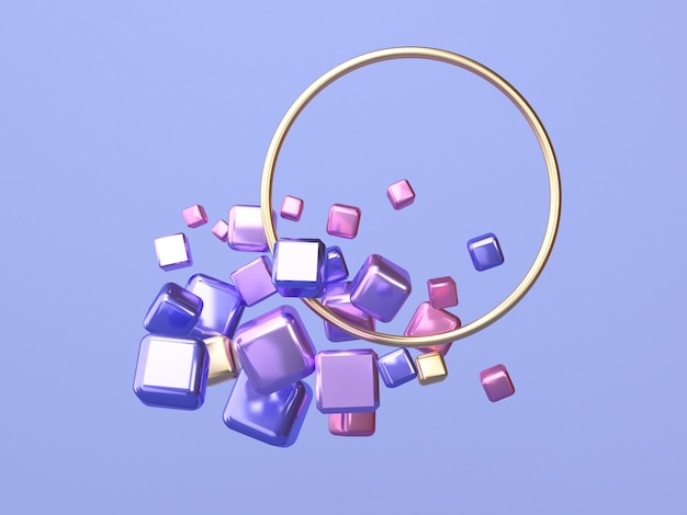 Círculo marco 3d rendering rosa púrpura oro forma geométrica flotante