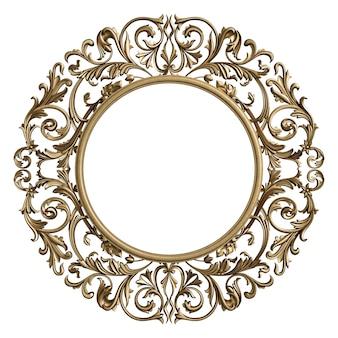 Círculo de marco clásico con decoración de adorno aislado
