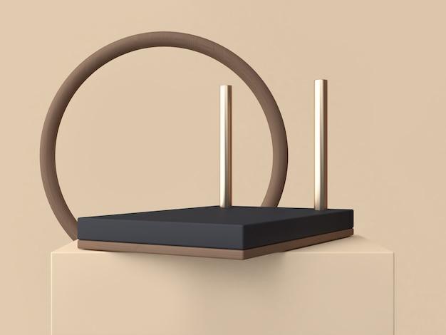 Círculo marrón abstracto marco y podio negro de la representación 3d