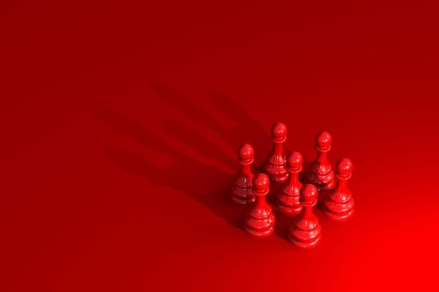 Círculo de peones de ajedrez con sombra en forma de corona en rojo