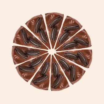 Círculo de porciones de pastel de chocolate