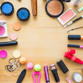 Círculo de suministros de maquillaje