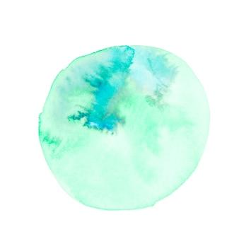 Círculo de trazo de pincel pintado a mano sobre fondo blanco
