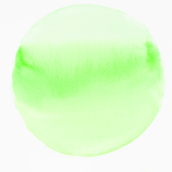 Círculo verde acuarela aislado sobre fondo blanco