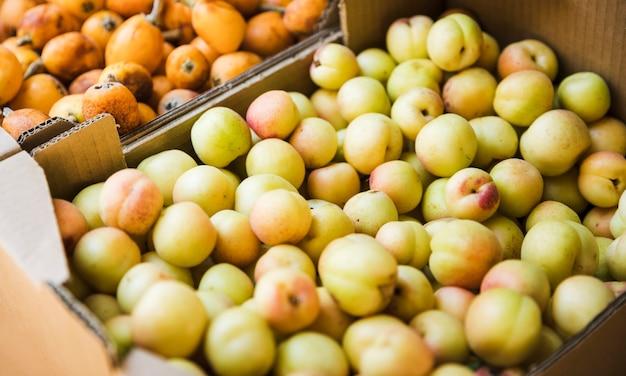 Ciruelas orgánicas de fruta en el mercado local de agricultores.