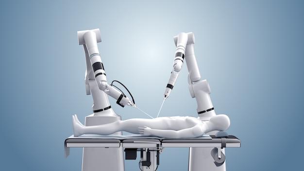 Cirugía médica robot. tecnologías médicas modernas. brazo robótico aislado en azul. renderizado 3d