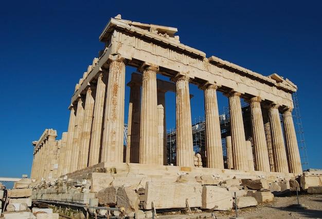 Ciudad de atenas grecia partenón en arquitectura de la señal de la acrópolis