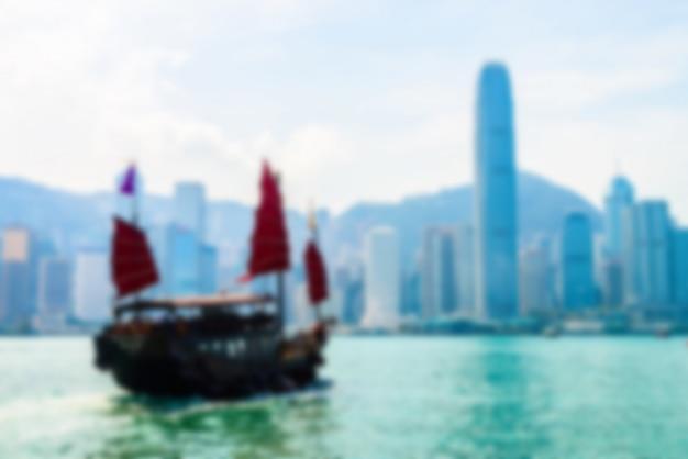 Ciudad borrosa abstracta del horizonte de hong-kong