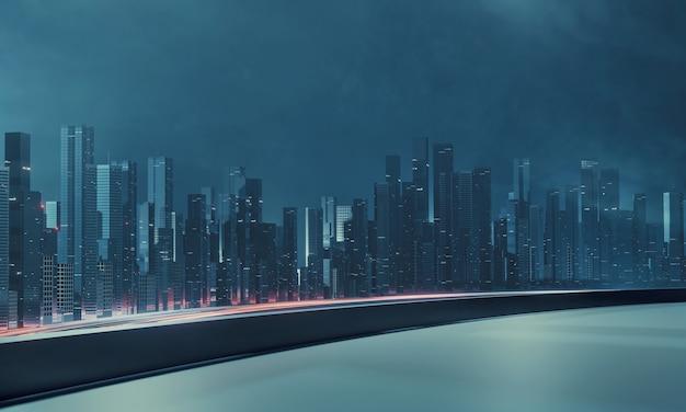 Ciudad y carretera en la noche desde la azotea del edificio.