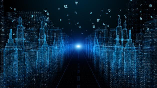 Ciudad digital ciberespacio digital con partículas y conexiones de red de datos digitales