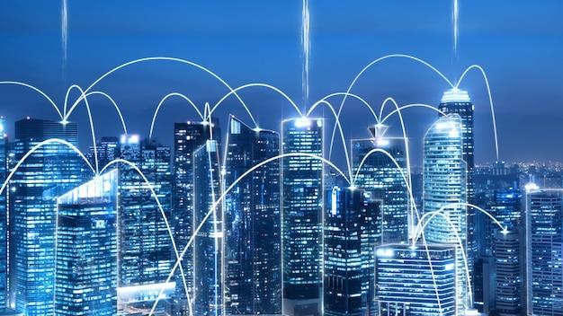 Ciudad digital inteligente con gráfico abstracto de globalización que muestra la red de conexión